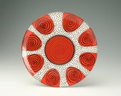 """In Stock - To Hang or Not to Hang - Ready to Hang 11-3/4"""" Serving Platter Spiral and Dots Hand Painted Dinnerware"""