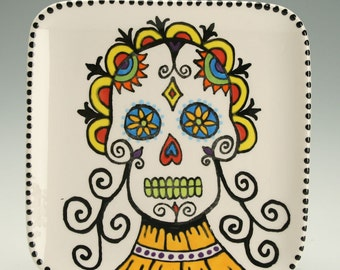 Square Day of the Dead Small Plate, Sugar Skull Ceramic Plate, Halloween Decor, Decorative Dinnerware