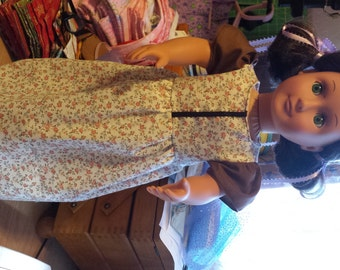 Doll Dress - little flowers, brown