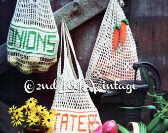 Vintage Crochet Pattern Mesh Reusable Shopping Bags String Purse Vegetable Tote Digital Download PDF