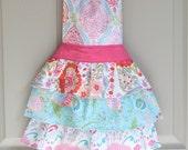"Girls Apron: The ""Taya"" Apron - ruffled apron in beautiful floral and geometric prints"
