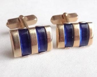 Swank 1940s Cuff Links with Blue Glass