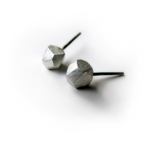 Facets, large titanium post earrings