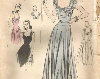 1940s Evening Gown Shirred Bodice Cap Sleeves Drop Waist Sweetheart Neckline Full Skirt Vogue S-4446 Bust 32 Women's Vintage Sewing Pattern