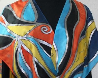 Silk Scarf Hand Painted, Orange Blue Black Handmade Silk Shawl MORNING MOOD by Silk Scarves Colorado. Size 11x60. Birthday, Anniversary Gift