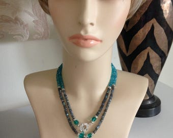 BLACK FRIDAY SALE:  Ashira Natural Labradorite and Apatite stones with Larimar Pendant with Sterling Silver clasp