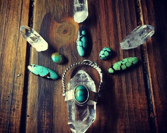 Wild Spirits- Turquoise and Quartz Crystal Necklace