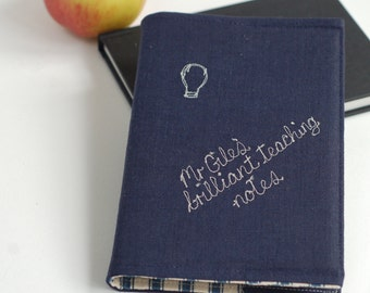 Teacher Gift Journal - Personalised Notebook For Teachers - Navy Linen Teacher Journal - Male Teacher - End Of Term Gift - Thank You Gift