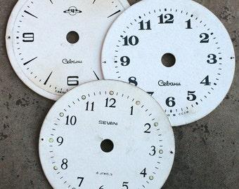 Vintage Alarm Clock Faces -- cardboard -- set of 3 - D17