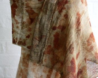 Plant dyed eco print woven wool shawl
