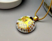 Porcelain necklace, white with gold line pattern and flower decal