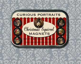 Christmas Squirrel Magnets - Squirrel Refridgerator Magnet Set