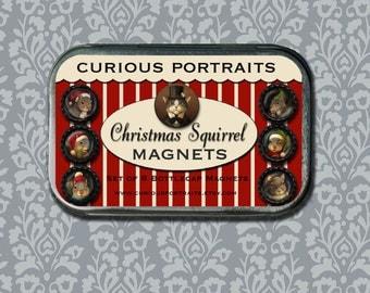 Christmas Squirrel Magnets - Squirrel Refridgerator Magnet Set