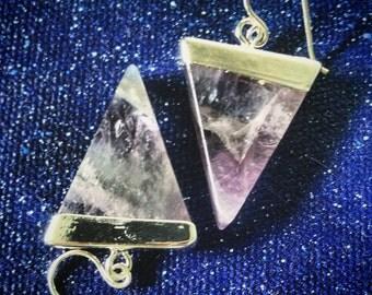 Amethyst Triangle Point Earrings