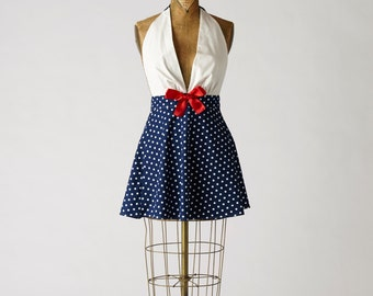 Womens Nautical Retro Apron Marilyn Style Full Apron