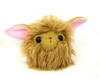 Stuffed Animal Monster Cute Plush Toy Monster Kawaii Plushie Caramel Tan Brown Snuggly Faux Fur Toy Medium 6 inches