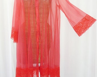 """Red Chiffon Lace Robe Nine Inch Lace Bell Shaped Sleeve 4"""" Lace Cuff 4"""" Sweeping 114"""" Lace Hemline"""