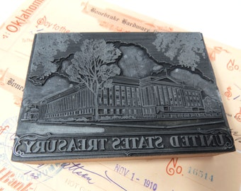 Vintage United States Treasury Building Letterpress Printing Type Plate - Industrial Decor
