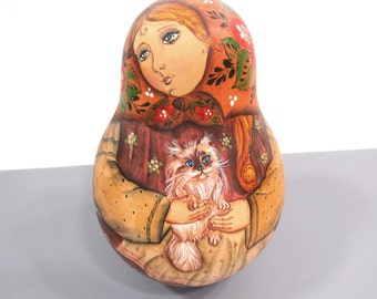 Russian Folk Art Musical Nevalyashka Roly Poly Doll Holding Cat - Musical Wooden Tumbling Doll