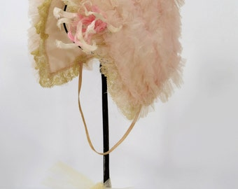 Vintage Ruffled Tulle Baby or Doll Bonnet, Ribbon Work Flower, Lace Trim Embellishment, Pink Netting