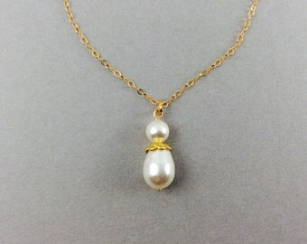 Bridal Pearl Necklace And Earring Set In 14K Gold Filled With White Swarovski Crystal Pearls