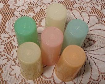 Vintage Pastel Tupperware Tumblers - Set of Six (6)  -  16-404
