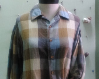 Vintage 90's GUESS by Georges Marciano Plaid Bubble Sleeves Wide Shirt for Ladies