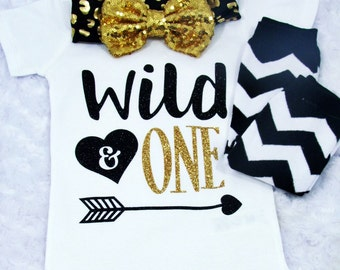 "Infant Girl ""Wild & One "" Gold and Black Glitter with Matching Headband and Chevron Legwarmers White Bodysuit - First Birthday Shirt Smash"