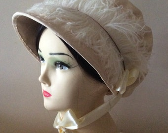 Regency Bonnet. Jane Austen. Cream Jockey Cap. CUSTOM MADE
