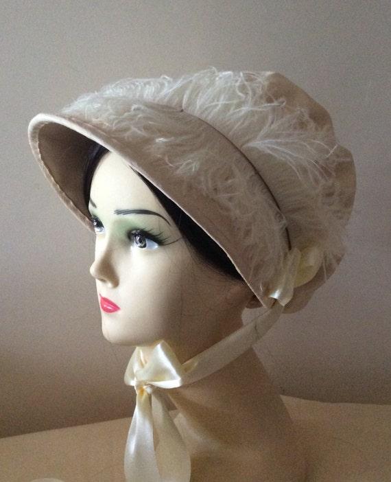 Regency Bonnet. Jane Austen. Cream Jockey Cap. CUSTOM MADE