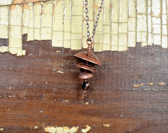 Garden Bell Chime Copper Necklace With A Hand Engraved Mehndi Design - ReaganJuel