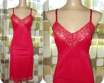 Vintage 50s Full Slip | 1950s Red Full Slip | Styled by Gilbreath | Scarlet Red | Vintage Lingerie | Nylon & Lace | Size 34 M/L