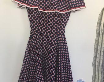 Vintage 60s / 70s Navy & Red Polka Dot Dress