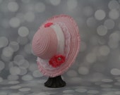Tea Party Hat - Pink Easter Bonnet with White Satin Ribbon - Girls Sun Hat - Pink Easter Hat - Sunday Dress Hat - Derby Hat - 16200