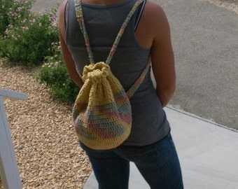 Crochet Backpack - Yellow, Mauve and Sage