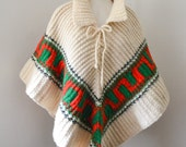 1960s chunky knit cream wool poncho / 60s woollen green & red capelet