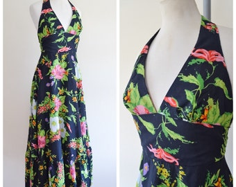 1970s Floral print halterneck maxi dress / 70s printed full length QUAD peasant dress - S