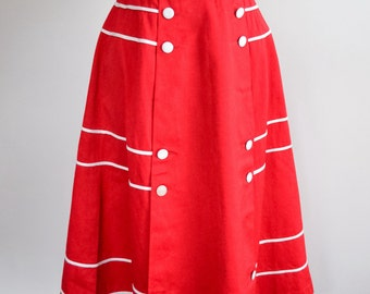 1950s Red white cotton flared skirt / 50s nautical sailor flared skirt - XS