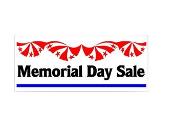 Memorial Day Sale Banner / custom banner / Flag banner / custom color / patriotic banner / vinyl banner / decal banner