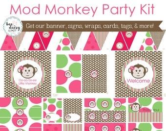 Girls Monkey Birthday, Monkey Baby Shower, Monkey Birthday Decorations, Monkey Baby Shower Decorations, Monkey Party Decorations BeeAndDaisy