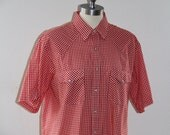Vintage Red Plaid Pearl Snap Button Western Shirt  Saddlebrook Western Wear Gingham Men's Shirt Long tail