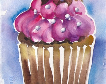 Small Format Cupcake Raspberry- 5.5x7.5inches original watercolor painting