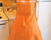 Vintage Style Womens Full Apron in Orange Polka Dots