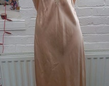 SALE 1920s 1940s ~Vintage Original Pink Peach Silk Nightgown - Chemise Downtown Abbey