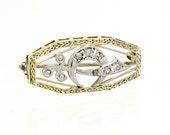 Vintage 14K Gold & Diamond Shriner Masonic Lapel Pin