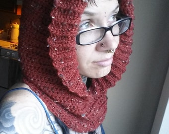 Red Autumn Tweed Hooded Cowl