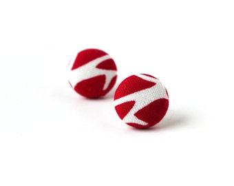 Dark red earrings - red stud earrings - red button earrings - small fabric earrings - white carmine burgundy summer