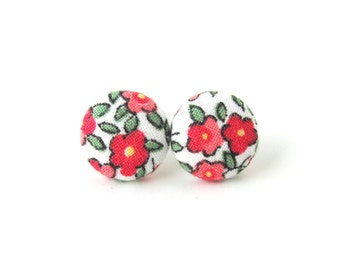 Rose button earrings - romantic fabric earrings - pink green white stud earrings - tiny bright floral earrings - vintage style