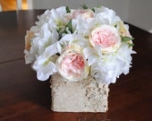Wedding Centerpiece Rustic Blush and Ivory Rose and Hydrangea Wedding Centerpiece