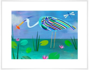 Blue Heron // Paper Art Print